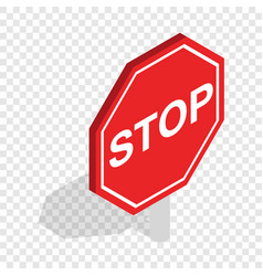 red traffic stop sign isometric icon vector image