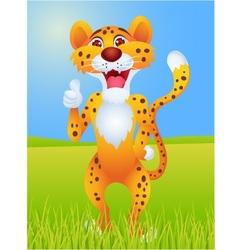 cheetah cartoon with thumb up vector image vector image