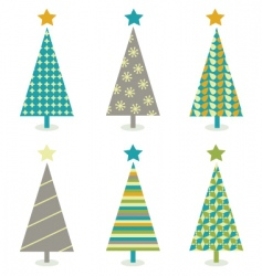 retro Christmas trees icon set vector image vector image