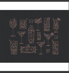 Art deco cocktails set dark vector