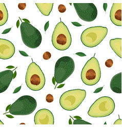 Avocado seamless pattern whole and sliced vector