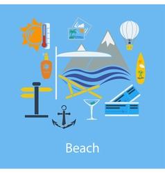 Beach vacation flat design vector image