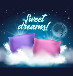 Beautiful card with wish written sweet dreams vector