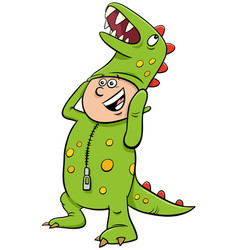 Boy in dinosaur costume at halloween party cartoon vector