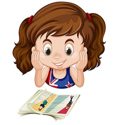 British girl reading a book vector image