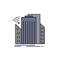Buildings city sensor smart urban flat color icon vector