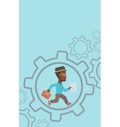 Businessman running inside the gear vector