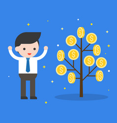 Businessman with money coin tree investment vector