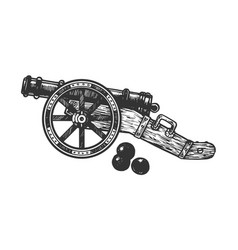 cannon and cannonball engraving vector image