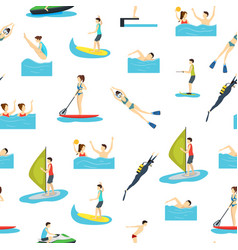 cartoon water sport and characters people seamless vector image