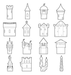 Castle tower icons set color outline style vector