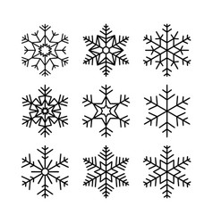 christmas snowflakes set winter collection of vector image