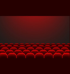 Cinema auditorium with screen and red seats movie vector