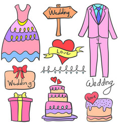 collection of wedding object doodle set vector image