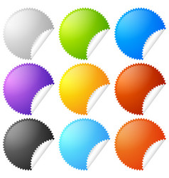 Colorful starburst badge sticker shapes with vector
