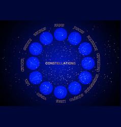Constellations wheel set collection 12 zodiac vector