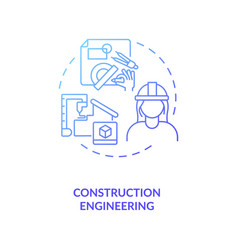 Construction engineering blue gradient concept vector