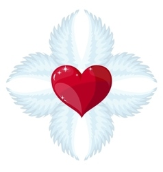 Cross- angel wings and a heart in the middle vector image