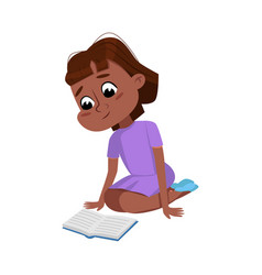cute african american girl sitting on floor and vector image