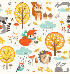 Cute autumn rainy pattern vector