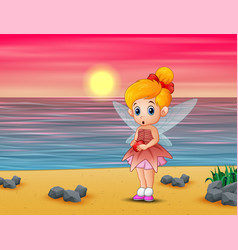 cute little love fairy standing on beach vector image