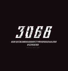 Cyrillic italic serif font in cyber style vector