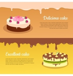 Delicious and Excellent Cake Flat Banners vector image