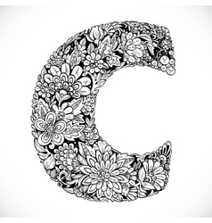 Doodles font from ornamental flowers - letter C vector