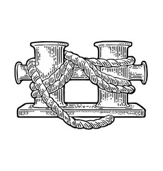 Double mooring bollard on white background vector