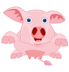 Drawing piglet on white background vector
