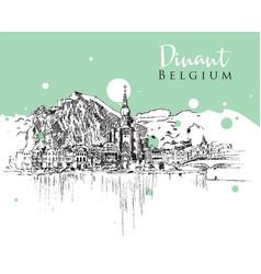 drawing sketch dinant belgium vector image