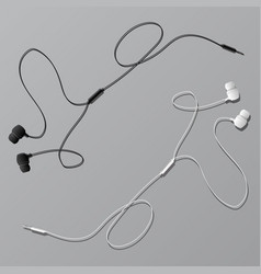Earphones with connector vector