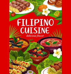 Filipino cuisine national asian food dishes vector