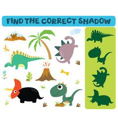 Find correct shadow adorable dinosaurs vector