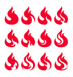 fire icon set design element vector image
