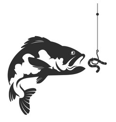 Fish and a worm on a hook vector