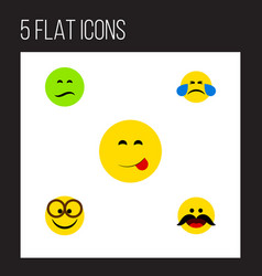 flat icon gesture set of cheerful pleasant cold vector image