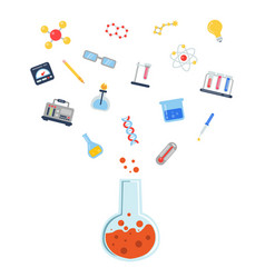flat style science icons vial vector image