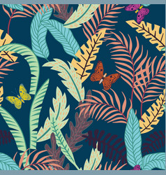 flat tropical leaf seamless pattern blue vector image