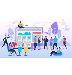 Freelance group working together gadgets vector