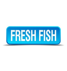 Fresh fish blue 3d realistic square isolated vector