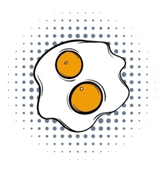 Fried eggs comics icon vector