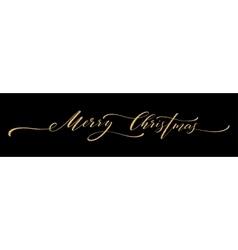 Gold glitter Merry Christmas lettering design vector image