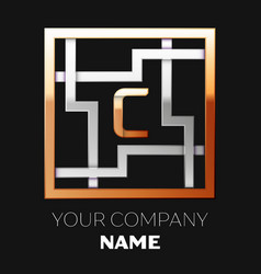 golden letter c logo symbol in the square maze vector image