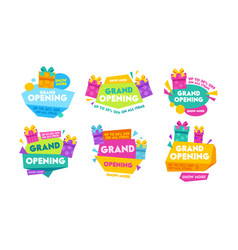 grand opening labels and badges set design vector image