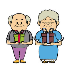 Grandparents holding gift box grandpa and grandma vector