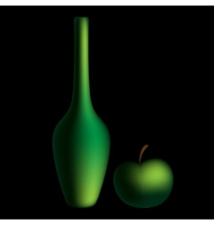 Green bottle and apple mesh vector