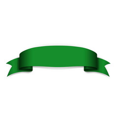 green ribbon banner satin blank design label vector image