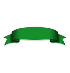Green ribbon banner satin blank design label vector