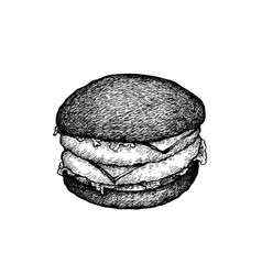 hand drawn of charcoal burger on white background vector image